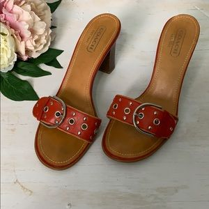 Coach Womens Red Block Heeled Sandal Size 8.5